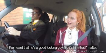 Pale redhead driving student after class gets instructo