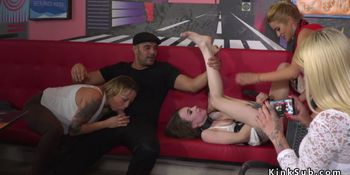 Euro slaves banged in group in public