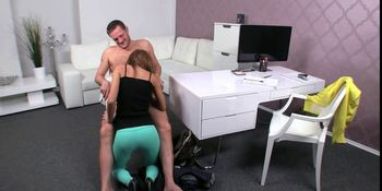 Female agent sucking and fucking huge dick in office