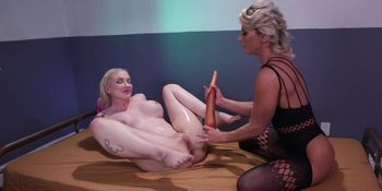 Blonde domme anal toys bound blonde