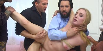Group of Home Buyers Fucking Tied Blonde