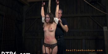 Master is giving gagged chick a brutal pussy pleasuring