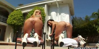 Flirty lesbians fill up their huge asses with whipped c