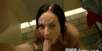 Slut gets fucked in changing rooms