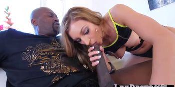 Naughty petite Moka Mora takes a hot cum from a bbc