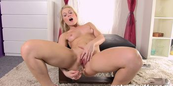 Feisty blonde takes vibrator in her ass while she pumps