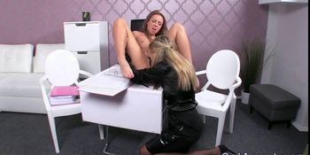 Hot amateur lesbians licking on desk in office on casti