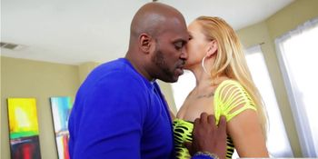 Pretty Hollie Mack sucks an enormous stiff black cock