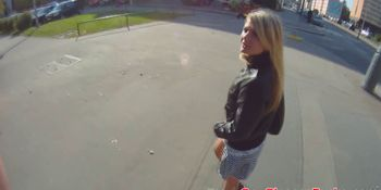 Teen pickedup and facialized in POV