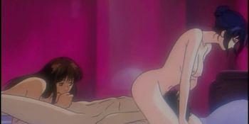 Pretty hentai shemale having threesome