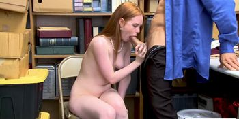 Blonde Shoplifter Ella Hughes gets hammered in the offi