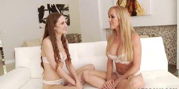 Buxom blonde lesbians share their pussies until orgasms