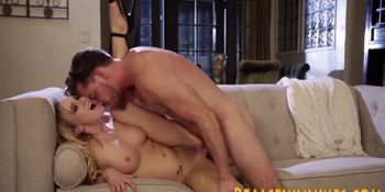 Horny blonde rubbing clit while getting plowed