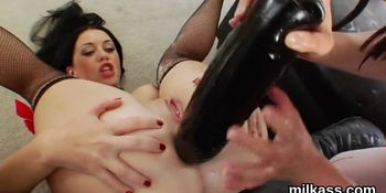 Spicy lesbians fill up their monster arses with whipped