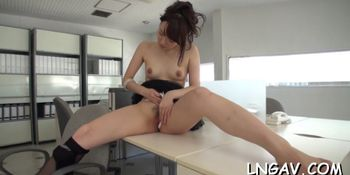 Cute asian fingered hard