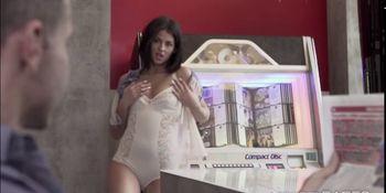 Hot Brunette Coco strips down and fucks her boyfriend