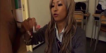 Japanese Handjob in the Classroom