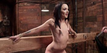 Small tits spinner takes huge dick in bdsm