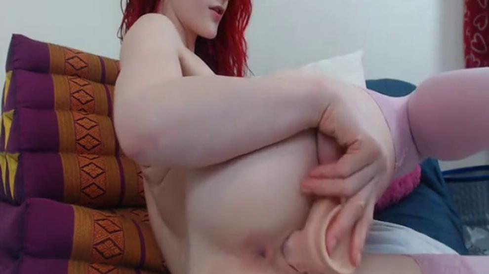 Busty Redhead Webcam Dildo