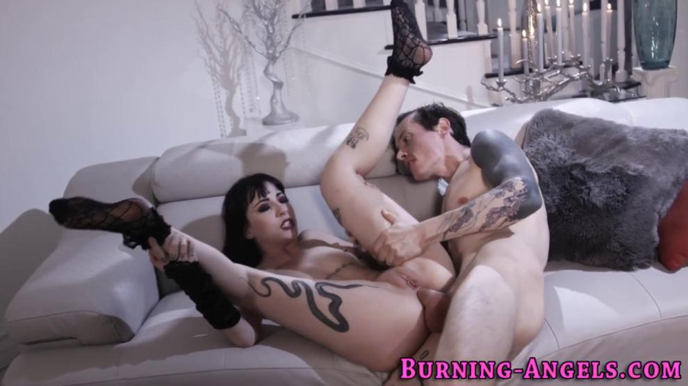 Goth hottie sucking and riding cock