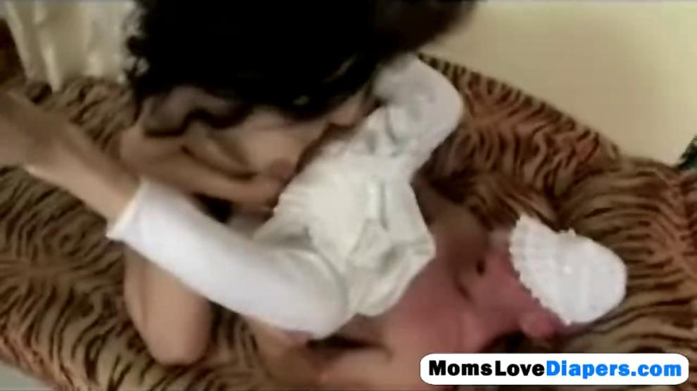 Babysitter breastfeeding man diapers anal strap on