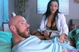 Busty doctor Audrey Bitoni gives patient a sweet fuck t