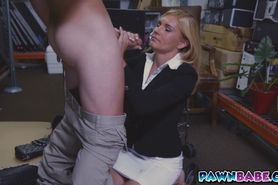 Hot MILF was fucked in the pawnshop for a fat wad of ca