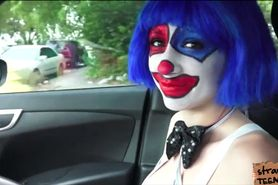Clown babe Mikayla hitch hikes and she gets pounded on