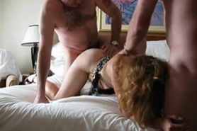 Amateur threesome at a hotel