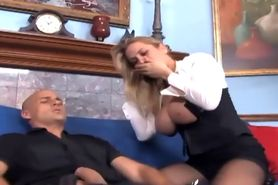 Blonde with big boobs fucking in sheer pantyhose