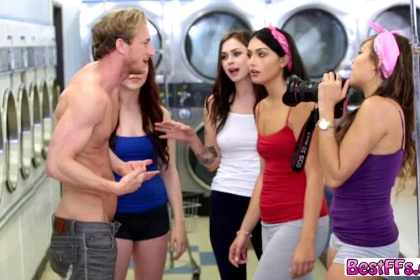 Group sex action inside the Laundry shop on weekend