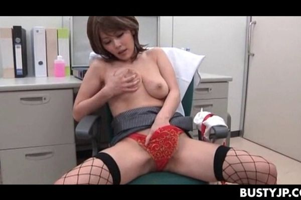 Doctor rubs her tits and pussy, black brown nipples